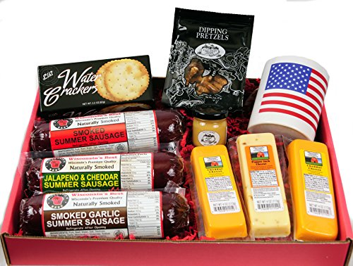 Ultimate USA Gift Basket - features USA Flag Mug, Smoked Summer Sausages, 100% Wisconsin Cheese, Crackers, Pretzels and Mustard by WISCONSIN'S BEST and WISCONSIN CHEESE COMPANY