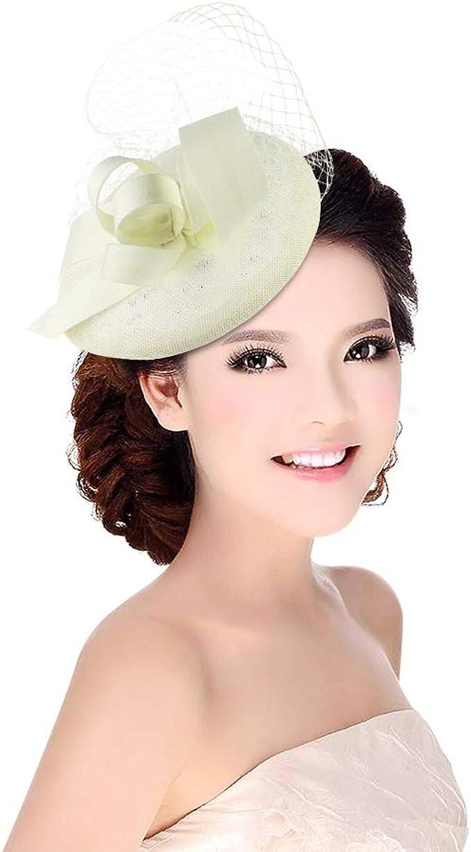 GEMVIE Women Flower Feather Fascinators Mesh Veil Hair Clip Pillbox Hat Wedding Derby Party Hat