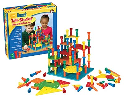 Tall Stacker Pegs Building Set by Lauri Toys