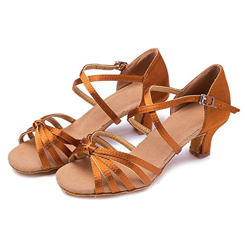 Performance WZJCL Roymall Salsa Latin 5 Ballroom Satin M Shoes Shoes Womens Dance Tango Model US Brown B 8 xCCA1Bzwq