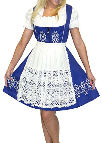 Dirndl Trachten Haus 3-Piece Short German Wear Party Oktoberfest Waitress Dress 8 38 Blue by Dirndl Trachten Haus
