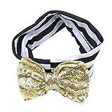 NIKOLay Sequined Bow Stripe Headband Elegant Shining Colorful Hair Accessory,Black + gold bow