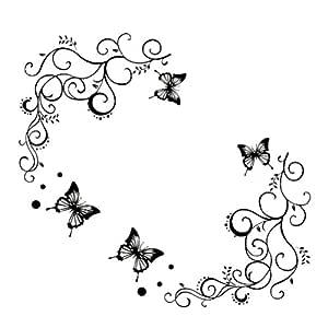 mariposa negro pegatinas flores del arte de la pared