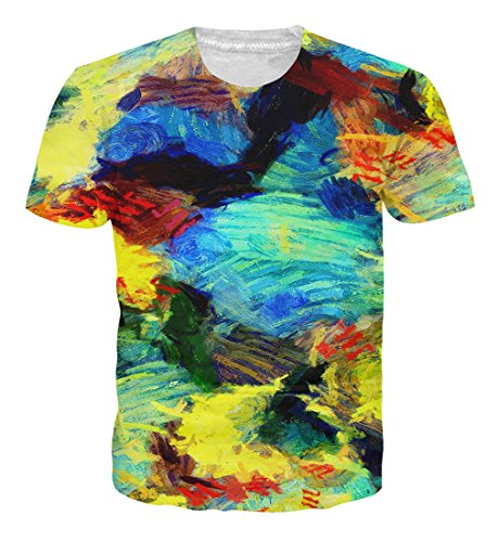 Goodstoworld Mens Womens Colourful Tye Die 3D Print Shirt Summer Personalized Casual Short Sleeve Tshirt Tee Tops Large,A22-colourful (Die Short Sleeve T-shirt)