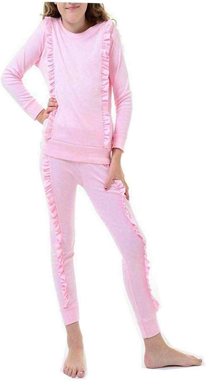 FashioN HuB Girls Duel Ruffle Frill Tracksuit Children Top Jogger Pants Loungewear Co Ord Set