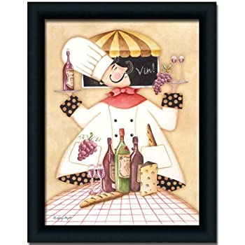 Vineyard Fat Chef Kitchen D Cor Art Print Picture Framed 12x16