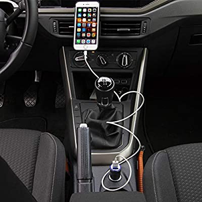MMOBIEL Car Charger Brushed Aluminum Incl Bright Blue LED Light 2X USB Port 2.1A and 1.0A IQ Technology 5V Output