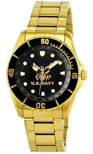 Aqua Force Navy Golden Watch with 47mm Black Face