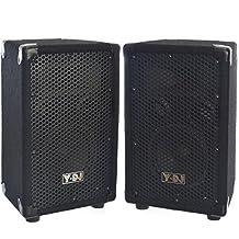 "Y-DJ Garage Band PA Speakers in 15"" Cabinet w/ 180w 6 inch Two-Way Full-Range Passive LoudSpeaker (Pair)"