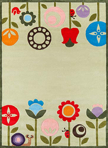 Momeni Rugs LMOJULMJ-7GRS4060 Lil' Mo Whimsy Collection, Kids Themed Hand Carved & Tufted Area Rug, 4' x 6', Grass -