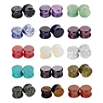 Longbeauty 15 Pair Natural Mix Stone Flared Fresh Tunnels Ear Plugs Expander Piercing Gauges kit 6MM