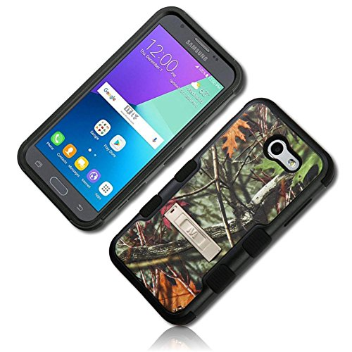 mySimple 3 Piece SECURE-Fit Rubberized Gel Hybrid Case w/ 2 Layered SHOCKPROOF Protection for Samsung Galaxy Express Prime 2 w/ Oak Trees Branches Leafy Camo {Green, Brown, Tan & Orange} w/ Kick Stand (Tan Tree Oak)