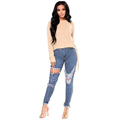 20a9a1d6075beb Yukong Women Jeans, Skinny Ripped Holes Jeans Pants High Waist Stretch  Pencil Trousers Hollow Out Long Pants: Amazon.co.uk: Clothing
