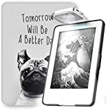 Young Me All New Kindle E-reader Rechargeable Led Light and Auto Wake/Sleep and Hand Strap Leather Cover/Case for Kindle 2016 6 inch 8th generation( Not Fit Kindle Paperwhite) Dog