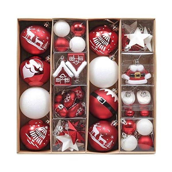 Valery Madelyn Palle di Natale 50 Pezzi di Palline di Natale, 3-5 cm Decorazione Tradizionale Rossa e Bianca Infrangibile con Palle di Natale per la Decorazione Dell'Albero di Natale 1 spesavip