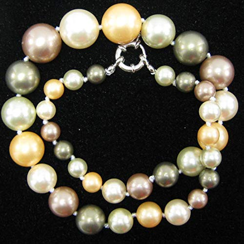 8-16mm Multicolor Shell Pearl Round beads Necklace 18'' S1