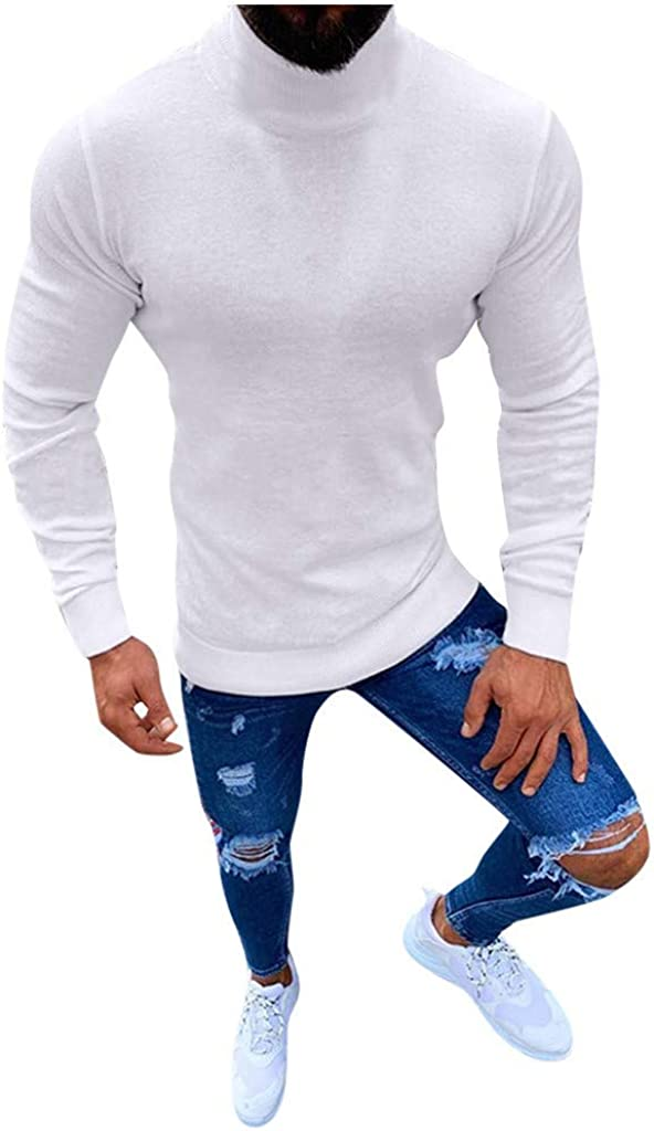 Beautyfine Pullover, Men's Turtleneck Sweater Autumn Winter Solid Knitted Blouse Tops at  Men's Clothing store