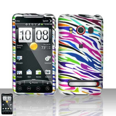 Colorful Zebra Rubberized Snap on Hard Shell Design Faceplate for Sprint Htc Evo 4g