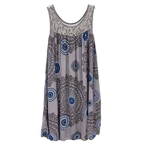 (Women Dresses Scoop Neck Sleeveless Lace Splice Casual Loose Beach Plain T-Shirt Swing Dress (XL, Gray 2))