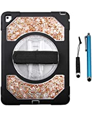 Cellular360 Shockproof Case for iPad Mini 4 with Pearl Shells, 360 Degrees Rotatable Stand and Adjustable Handle (Golden Pearl)