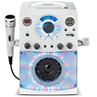 Singing Machine Sistema de karaoke SML385BTW con luces de disco LED, CD + G y micrófono, blanco