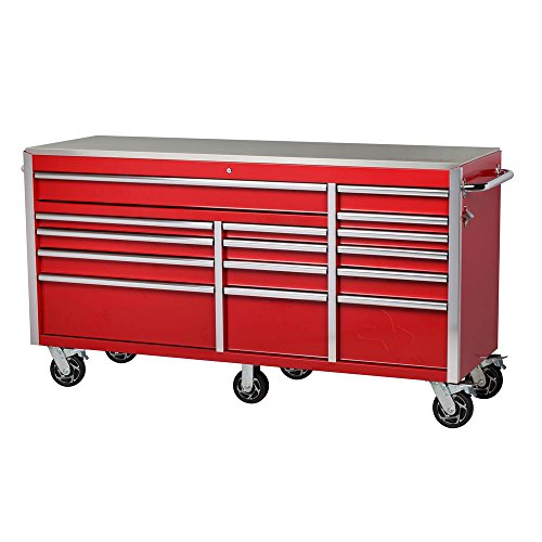 - 72 in. W x 24 in. D 15-Drawer Mobile Workbench with Stainless Steel Top
