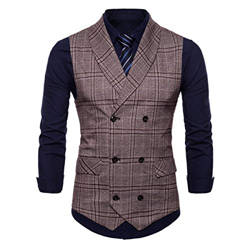 Vest Business Couper Mariage Suit Vintage Rétro Slim Plaid Tweed Kaffeebraun Cross Garniture Fit wEIxqIT