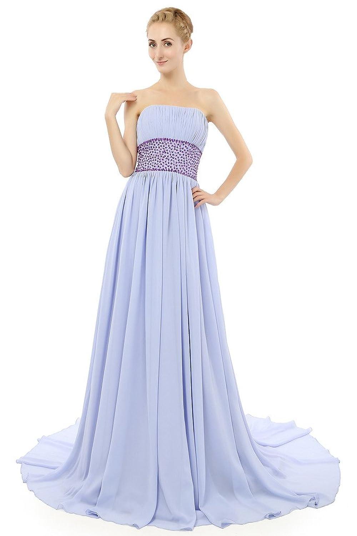 HONGFUYU Women's Elegant Strapless Chiffon Bridesmaid Dress Long Formal Prom Party Evening Dress