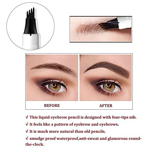 Music Flower Tattoo Eyebrow Pen With Four Tips And 3 Colors Long