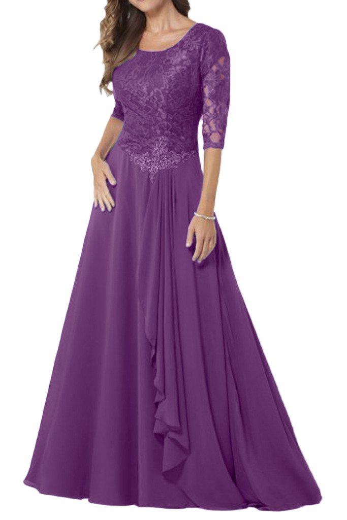(ウィーン ブライド) Vienna Bride 披露宴用母親ドレス ロングドレス 結婚式母親用ドレス 半袖 レース フォーマルイブニングパーティー 8色 ウエディングパーティー B01E0RU300 27W|パープル パープル 27W