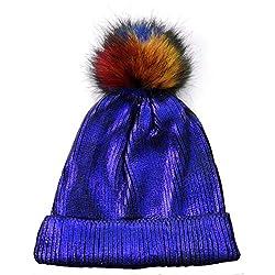 Blue-C Sequin Beanie Hat with Faux Fur