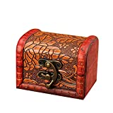 Chenway Vintage European Jewelry Box Wooden Box Antique Old Decorative Wooden Box Small Box Candy Box Mini Earrings Necklace Storage Box for Girl Woman (A)