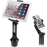 iKross 2-in-1 Tablet and Cellphone Adjustable Swing Extended Cup Mount Holder Car Kit for iPad iPhone Samsung Asus Tablet Smartphone and more