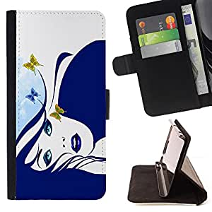 - NATURE MOTHER WOMAN BUTTERFLY ART DRAWING PORTRAIT - - Prima caja de la PU billetera de cuero con ranuras para tarjetas, efectivo desmontable correa para l Funny HouseFOR Apple Iphone 6 PLUS 5.5