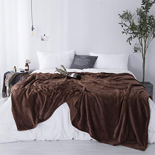 Sleepwish Chocolate Brown Fleece Blanket Twin Size Mens Solid Color Flannel Sheet Blanket Soft and Cozy Plush Bed Blanket