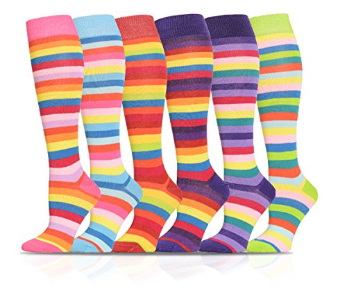 ICONOFLASH-Casual-Knee-High-Socks-in-Assorted-Colors-6-Pair-Bundle-Pack