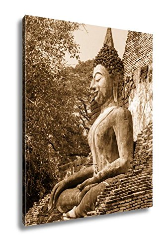 Ashley Canvas Ancient Ancient Buddha Statues In The Ancient Thai Capital Of Ayutthaya In The, Wall Art Home Decor, Ready to Hang, Sepia, 20x16, AG5264803 by Ashley Canvas