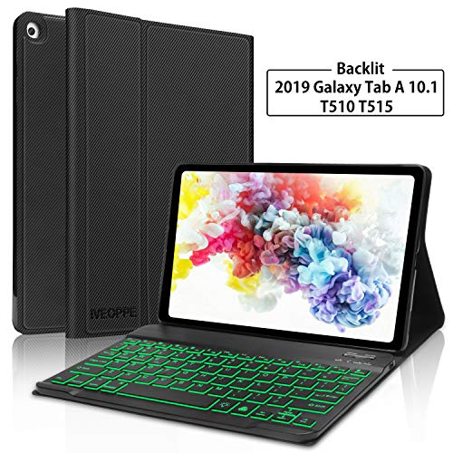 Galaxy Tab A 10.1 2019 Keyboard Case T510 T515, IVEOPPE 7 Color Backlit Removable Bluetooth Keyboard Protective Auto…