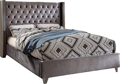 Meridian Furniture AidenGrey-K Aiden Collection Modern | Contemporary Grey Velvet Upholstered Bed with Deep Button Tufting, Solid Wood Frame, and Custom Chrome Legs, King,