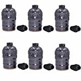 HESSION 6 Pack E27 Lamp Base Light Socket, Metal Shell Lampholder for Lamp or Fixture Replacement Vintage Industrial Style DIY Projects(Black)
