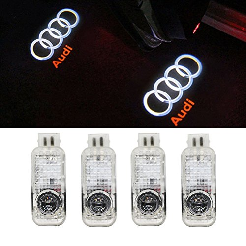 Grolish 4-Pack Audi Easy Installation Car Door LED Lighting Logo Projector Door Step Courtesy Light