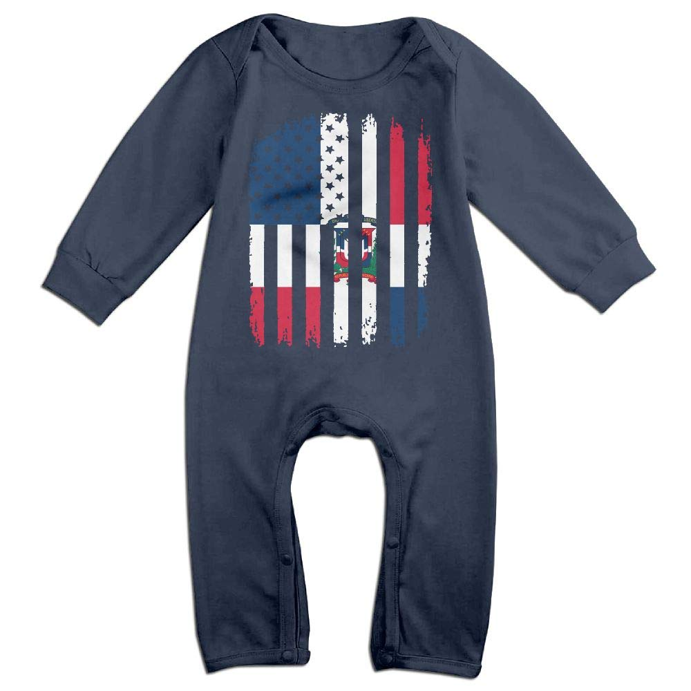 Mri-le1 Baby Girl Long Sleeved Coveralls Dominican Republic American Flag Kid Pajamas