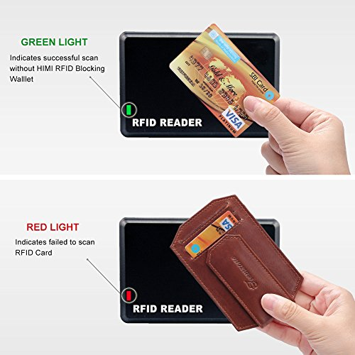 for Full Men Large Mens Grain Brown Money Vintage Clip Slim Rhombus Blocking Brown Wallet RFID Leather Leather 56EqwvqR