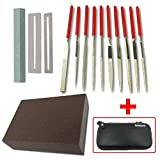 Flat Diamond Grit File Set - Including Frets Nut File Tool/Ukelele Bass Grinding Stone/ Fingerboard Protector/Grinding Sponge, Luthier Repair Maintenance Tools by Esdabem