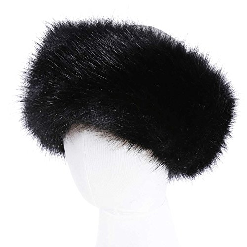 Faux Fur Headband Women's Winter Earwarmer Earmuff(one size,Black)