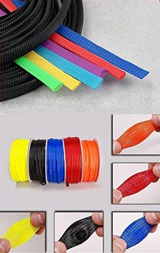 6mm, Rot 10m Geflechtschlauch Gewebeschlauch Kabelschlauch Kabelschutz /Ø 3 6 8 10mm