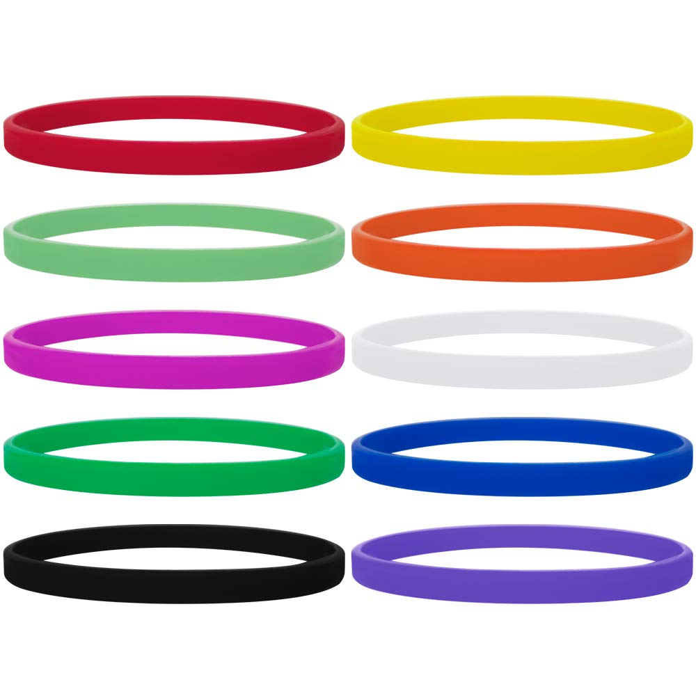 GOGO 100 Pcs Thin Silicone Wristbands, Rubber Bracelets, Party Favors-Assorted