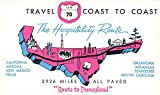Advertisment for Hospitality Route to Disneyland US Route 70 Map Chrome Postcards L1202