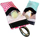 Chapstick Keychain Holder With Secure Close Lid. 2 Pack Lip Balm Holder. (Mint & Pink)