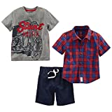 Simple Joys by Carter's Boys' Toddler 3-Piece Playwear Set, Red Plaid/Grey Motorcycle/Navy, 2T